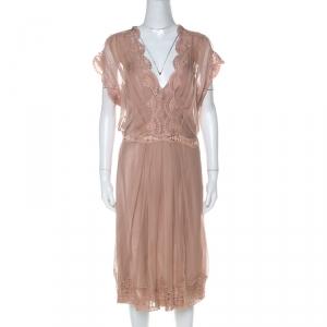 Alberta Ferretti Blush Pink Silk Chiffon Lace Detail Dress L - used