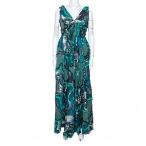 Alberta Ferretti Green Lurex Jacquard Fringed Detail Gown M - used