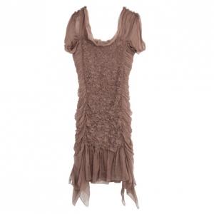 Alberta Ferretti Silk Beige Ruffled Dress M