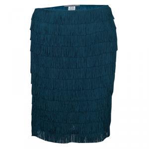 Alberta Ferretti Peacock Blue Fringed Skirt S
