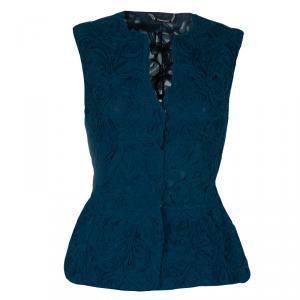 Alberta Ferretti Peacock Blue Rose Applique Texture Detail Sleeveless Peplum Jacket S