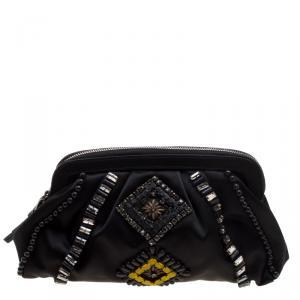 Alberta Ferreti Black Satin Beads Embellished Clutch