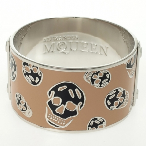 Alexander McQueen Skull Printed Pink Resin Large Bangle