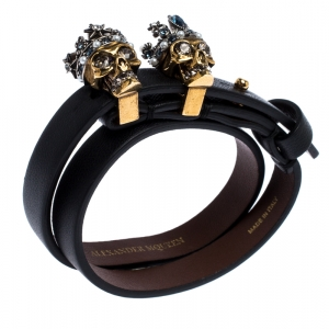 Alexander McQueen King Queen Skull Embellished Black Leather Double Wrap Bracelet