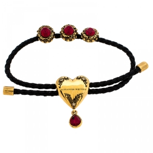Alexander McQueen Black Braided Leather Heart Charm Friendship Bracelet