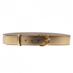 Alexander McQueen Gold Leather Round Twin Skull Buckle Belt 85CM