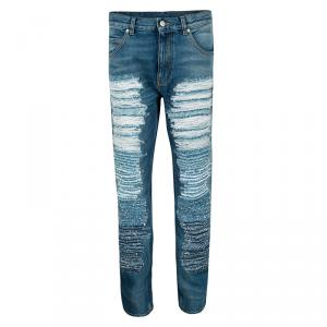 Alexander McQueen SS'16 Blue Ripped Effect Straight Fit Denim Jeans S