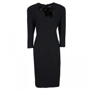 Alexander McQueen Black Satin Bow Detail Long Sleeve Leaf Crepe Dress L