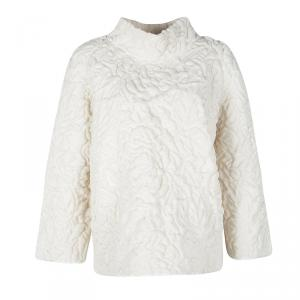 Alexander McQueen Cream Chunky Quilted Rose Knit  Oversized Pullover M