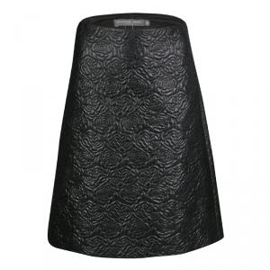 Alexander McQueen Black Embossed Rose Pattern Jacquard Half Pleated Skirt M