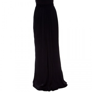 Alexander McQueen Black Draped Maxi Skirt L