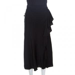Alexander McQueen Black Ruffled Midi Skirt L