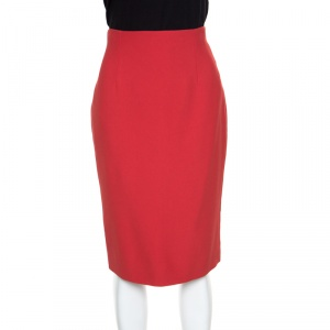 Alexander McQueen Red Leaf Crepe Pencil Midi Skirt M