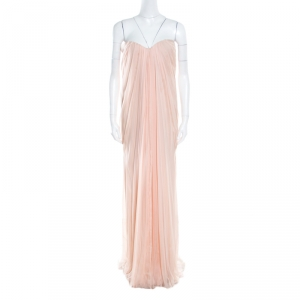 Alexander McQueen Blush Pink Silk Chiffon Draped Strapless Maxi Dress L