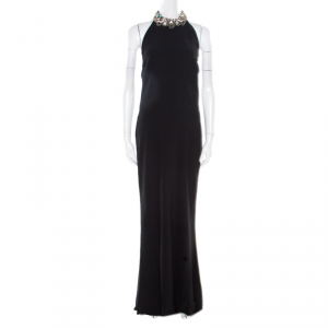 Alexander McQueen Black Embellished Collar Halter Evening Gown L
