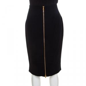 Alexander McQueen Black Crepe Zip Detailed Pencil Skirt M