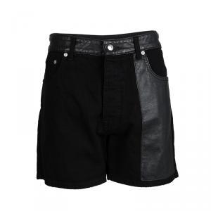 Alexander McQueen Black Denim Leather Trim Detail Distressed Hybrid Shorts S