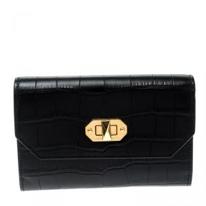 محفظة أليكساندر ماكوين كونتيننتال قفل صندوق متوسطة جلد نقش تمسح سوداء