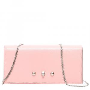 Alexander McQueen Pink Leather Small Wallet On Chain