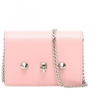 Alexander McQueen Rose Bud Leather Chain Wallet