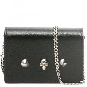 Alexander McQueen Black Leather Skull Chain Wallet