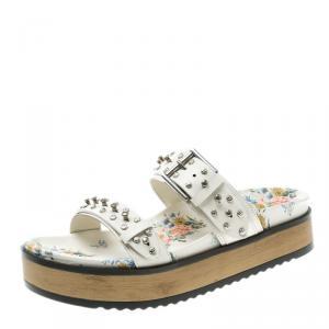 Alexander McQueen White Leather Studded Platform Sandals