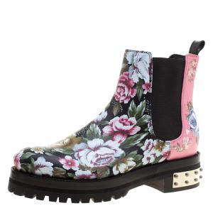 Alexander McQueen Multicolor Floral Print Patch and Embroidered Leather Chelsea Boots Size 37