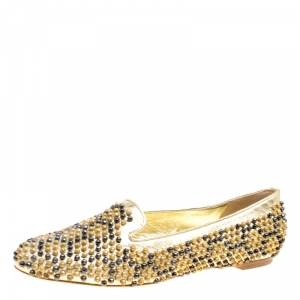 Alexander McQueen Metallic Gold Studded Leather Smoking Slippers Size 40