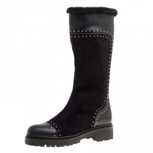 Alexander McQueen Black Suede and Leather Studded Shearling Fur-Lined Mid Calf Boots Size 39