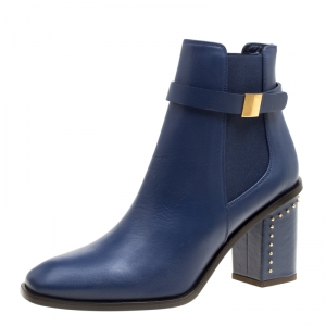 Alexander McQueen Midnight Blue Leather Studded Heel Ankle Boots Size 38