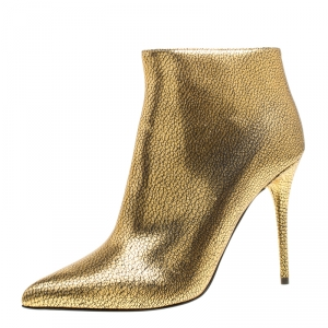 Alexander McQueen Gold Textured Leather Pointed Toe Ankle Booties Size 38