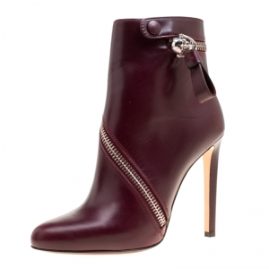 Alexander McQueen Burgundy Leather Spiral Zip Detail Ankle Boots Size 39