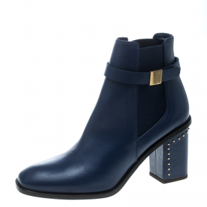 Alexander McQueen Midnight Blue Leather Studded Heel Ankle Boots Size 39