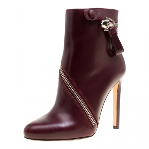 Alexander McQueen Burgundy Leather Spiral Zip Ankle Boots Size 37.5