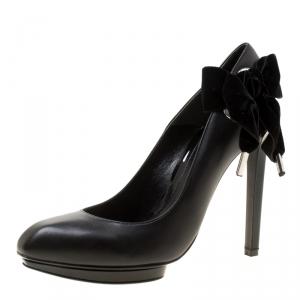 Alexander McQueen Black Leather With Velvet Bow Platform Pumps Size 39