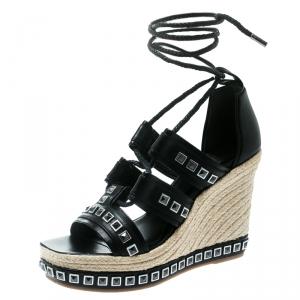 Alexander McQueen Black Leather Stud Detail Ankle Tie Espadrille Wedge Sandals Size 39