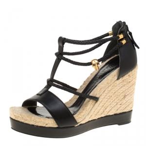 Alexander McQueen Black Braided Leather T Strap Espadrille Wedge Sandals Size 39