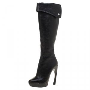Alexander McQueen Black Leather Fold Over Cuff Curve Heel Platform Knee Length Boots Size 36