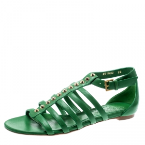 Alexander McQueen Green Leather Spike Detail Flat Gladiator Sandals Size 39