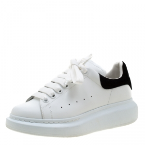Alexander McQueen White Leather And Black Suede Larry Low Top Sneakers Size 37.5