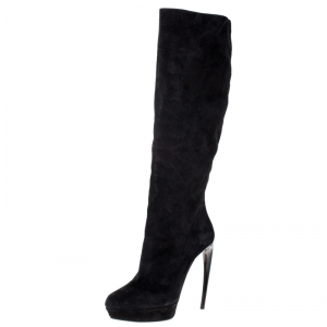 Alexander McQueen Black Suede Curved Heel Platform Knee Length Boots Size 39
