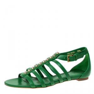 Alexander McQueen Green Leather Spike Detail Flat Gladiator Sandals Size 38.5 -
