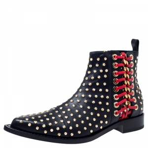 Alexander McQueen Black Leather Studded Chain Detail Pointed Toe Ankle Boots Size 39