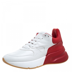 Alexander McQueen White/Red Leather Larry Low Top Sneakers Size 40