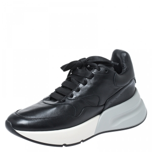 Alexander McQueen Black Leather Larry Low Top Sneakers Size 39.5