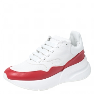 Alexander McQueen White/Red Leather And Canvas Larry Low Top Sneakers Size 38.5