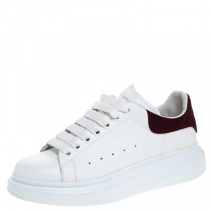 Alexander McQueen White Leather And Burgundy Suede Lace Up Platform Sneakers Size 39