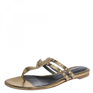 Alexander McQueen Metallic Gold Leather Embellished Skull Flat Thong Sandals Size 37