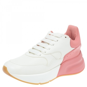 Alexander McQueen White/Pink Leather Oversized Runner Low Top Sneakers Size 38.5