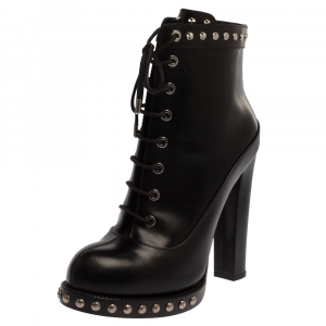 Alexander McQueen Black Leather Studded Platform Block Heel Ankle Boots Size 38